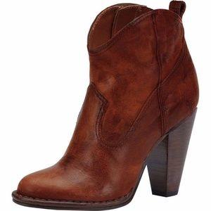 Frye Madeline Short Cognac Leather Wester Booties